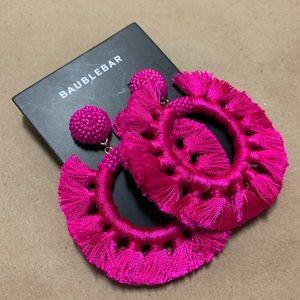 BaubleBar | Pink Adrita Tassel Hoop Earrings